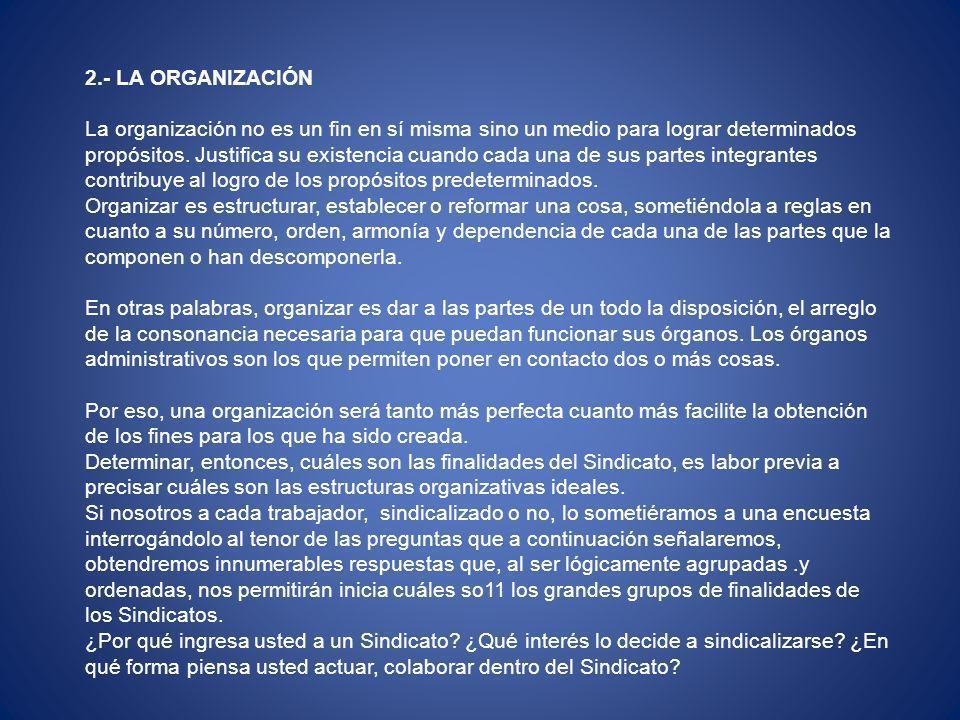 2.- LA ORGANIZACIÓN La organización no es un fin en sí misma sino un medio para lograr determinados propósitos.