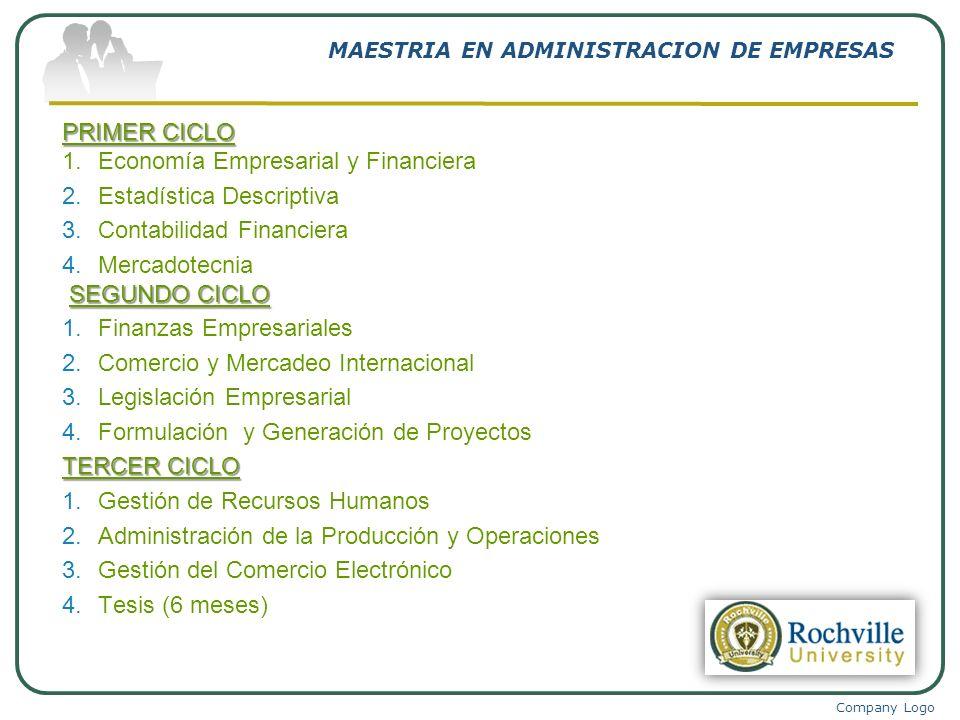 Company Logo MAESTRIA EN ADMINISTRACION DE EMPRESAS PRIMER CICLO 1.Economía Empresarial y Financiera 2.Estadística Descriptiva 3.Contabilidad Financie