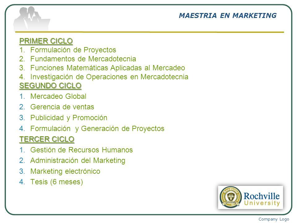 Company Logo MAESTRIA EN MARKETING PRIMER CICLO 1.Formulación de Proyectos 2.Fundamentos de Mercadotecnia 3.Funciones Matemáticas Aplicadas al Mercade