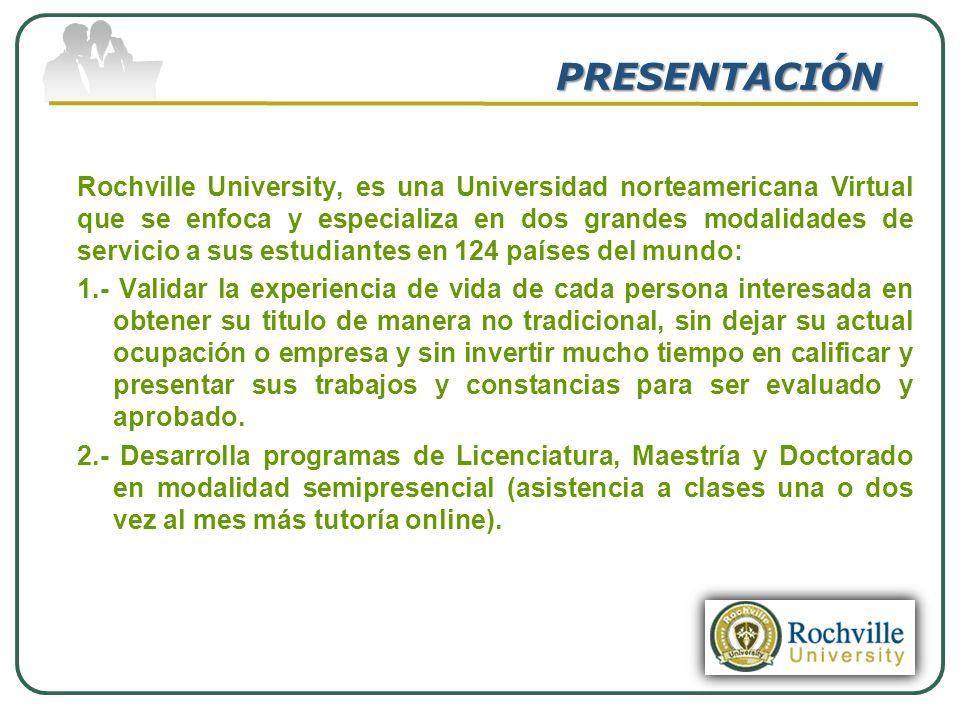 PRESENTACIÓN Rochville University, es una Universidad norteamericana Virtual que se enfoca y especializa en dos grandes modalidades de servicio a sus