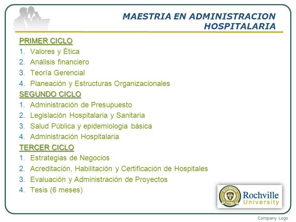 Company Logo MAESTRIA EN ADMINISTRACION HOSPITALARIA PRIMER CICLO 1.Valores y Ética 2.Análisis financiero 3.Teoría Gerencial 4.Planeación y Estructura