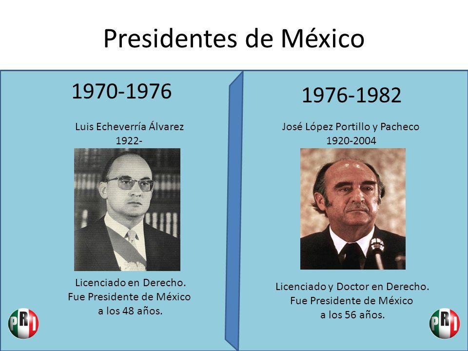 Presidentes de México 1970-1976 1976-1982 Luis Echeverría Álvarez 1922- Licenciado en Derecho. Fue Presidente de México a los 48 años. José López Port