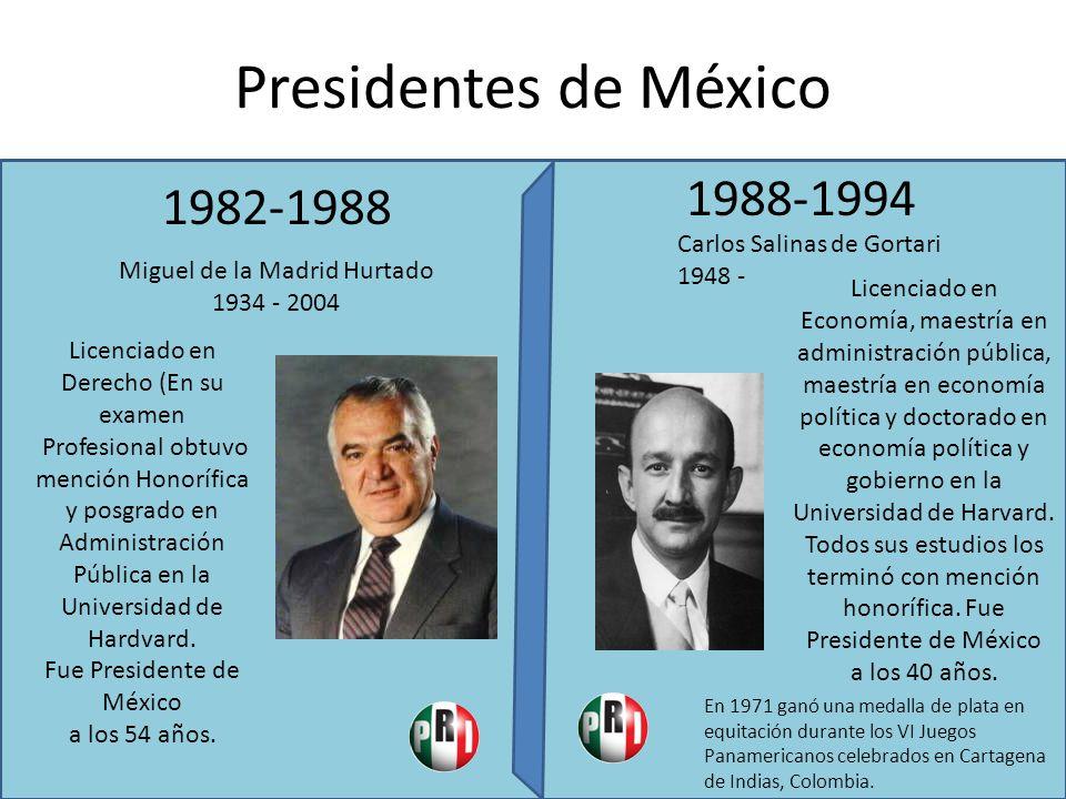 Presidentes de México 1982-1988 1988-1994 Miguel de la Madrid Hurtado 1934 - 2004 Licenciado en Derecho (En su examen Profesional obtuvo mención Honor