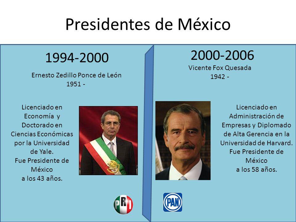 Presidentes de México 2006-2012 2012-2018 Felipe Calderón Hinojosa 1962 - Enrique Peña Nieto 1966 – Licenciado en Derecho y Maestría del ITESM Licenciado en Derecho, maestría en Economía en el ITAM y maestría en administración pública (MPA) en la Universidad de Harvard.