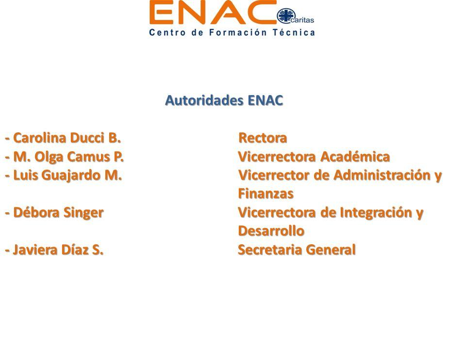 Autoridades ENAC - Carolina Ducci B. Rectora - M. Olga Camus P.Vicerrectora Académica - Luis Guajardo M. Vicerrector de Administración y Finanzas - Dé