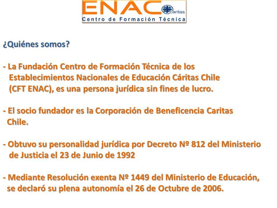 ¿Quiénes somos? - La Fundación Centro de Formación Técnica de los Establecimientos Nacionales de Educación Cáritas Chile (CFT ENAC), es una persona ju