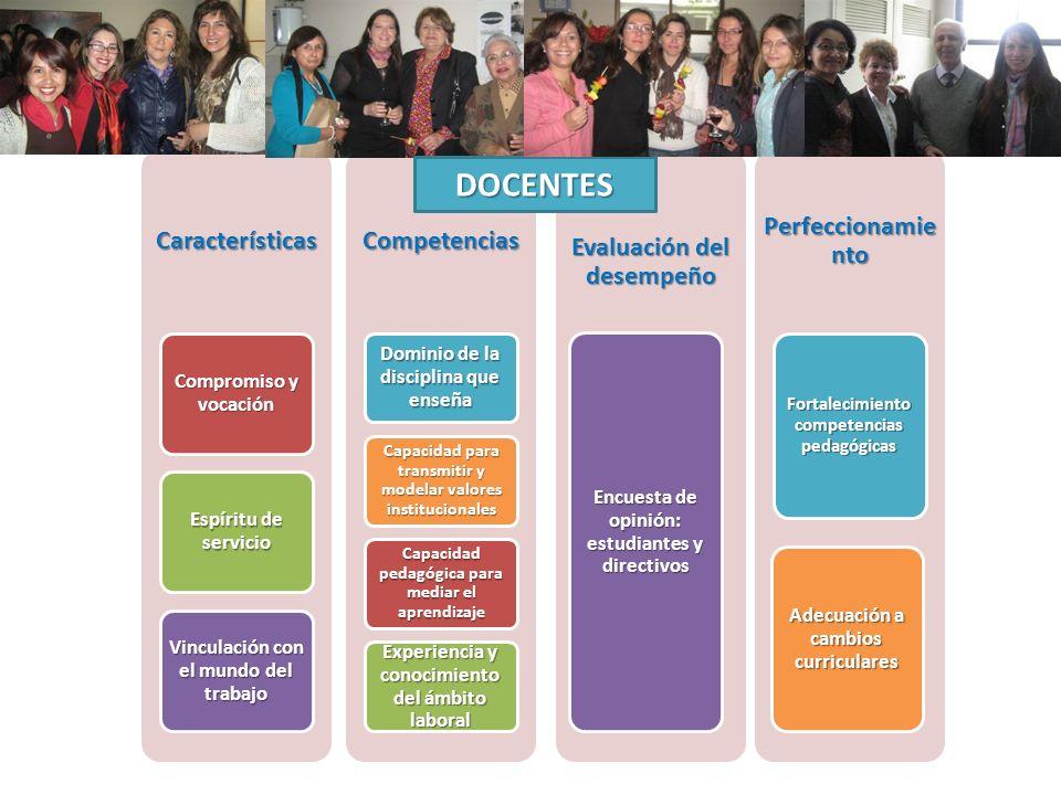 Características Compromiso y vocación Espíritu de servicio Vinculación con el mundo del trabajo Competencias Dominio de la disciplina que enseña Capac