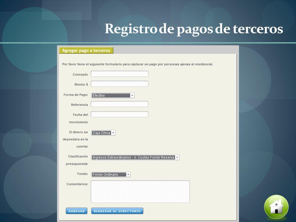 Registro de pagos de terceros