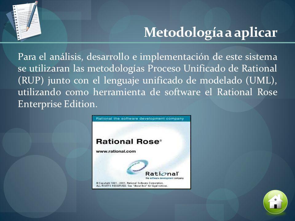 Metodología a aplicar Para el análisis, desarrollo e implementación de este sistema se utilizaran las metodologías Proceso Unificado de Rational (RUP)