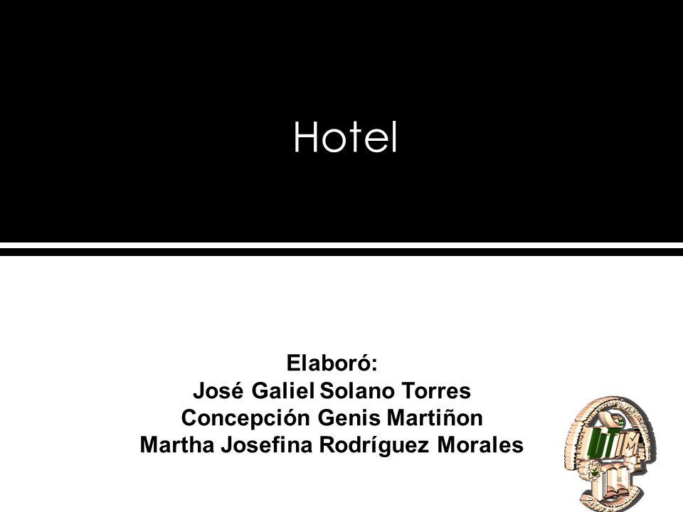Hotel Elaboró: José Galiel Solano Torres Concepción Genis Martiñon Martha Josefina Rodríguez Morales