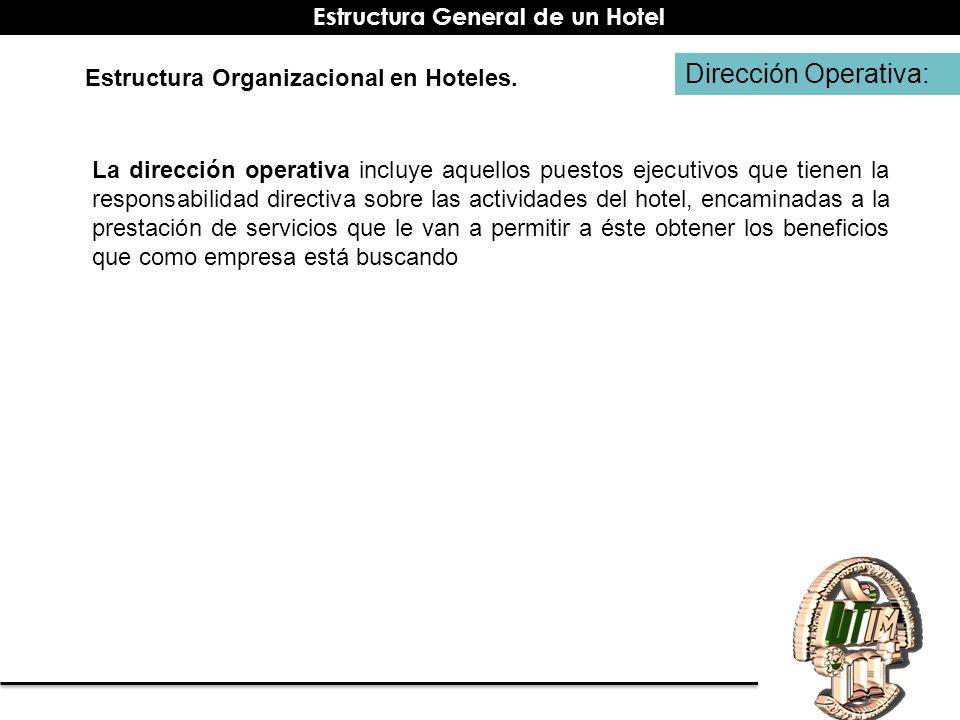 Dirección Operativa: Estructura Organizacional en Hoteles. La dirección operativa incluye aquellos puestos ejecutivos que tienen la responsabilidad di