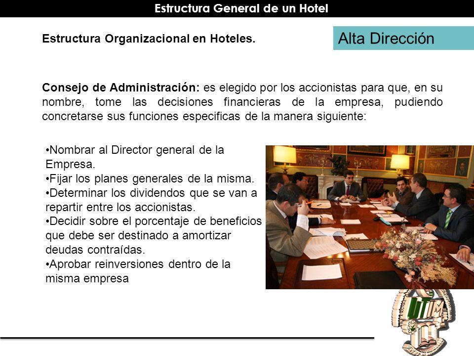 Alta Dirección Estructura Organizacional en Hoteles. Consejo de Administración: es elegido por los accionistas para que, en su nombre, tome las decisi