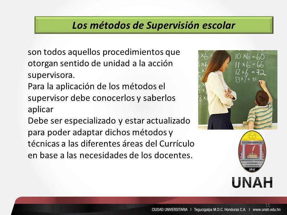 son todos aquellos procedimientos que otorgan sentido de unidad a la acción supervisora. Para la aplicación de los métodos el supervisor debe conocerl