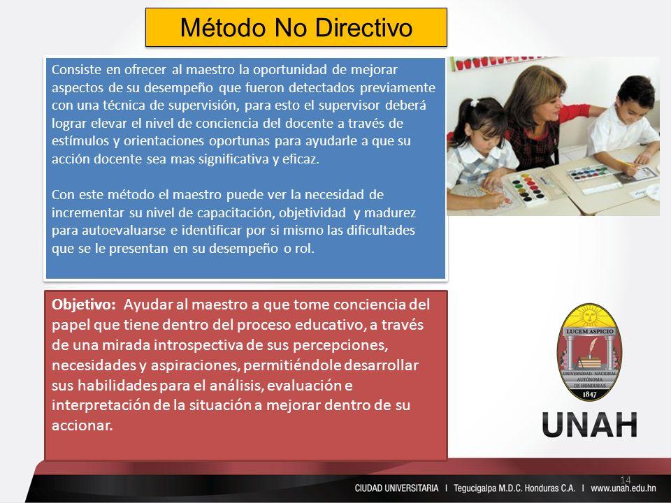 Método No Directivo Consiste en ofrecer al maestro la oportunidad de mejorar aspectos de su desempeño que fueron detectados previamente con una técnic