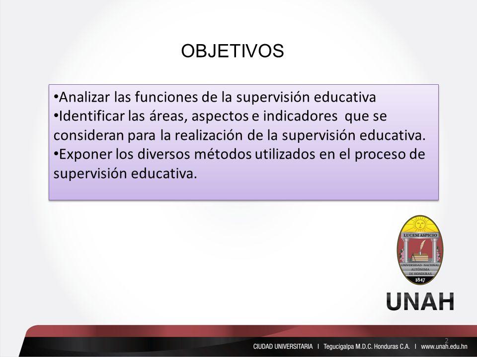 OBJETIVOS Analizar las funciones de la supervisión educativa Identificar las áreas, aspectos e indicadores que se consideran para la realización de la