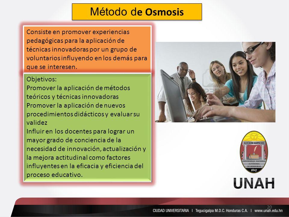 Método d e Osmosis Consiste en promover experiencias pedagógicas para la aplicación de técnicas innovadoras por un grupo de voluntarios influyendo en