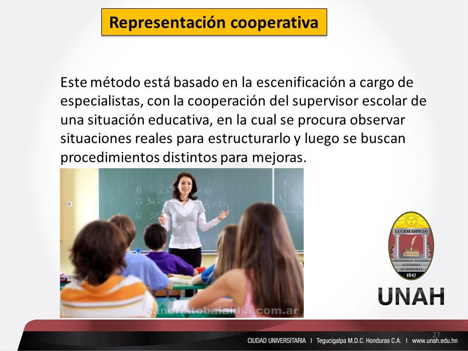 Representación cooperativa Este método está basado en la escenificación a cargo de especialistas, con la cooperación del supervisor escolar de una sit