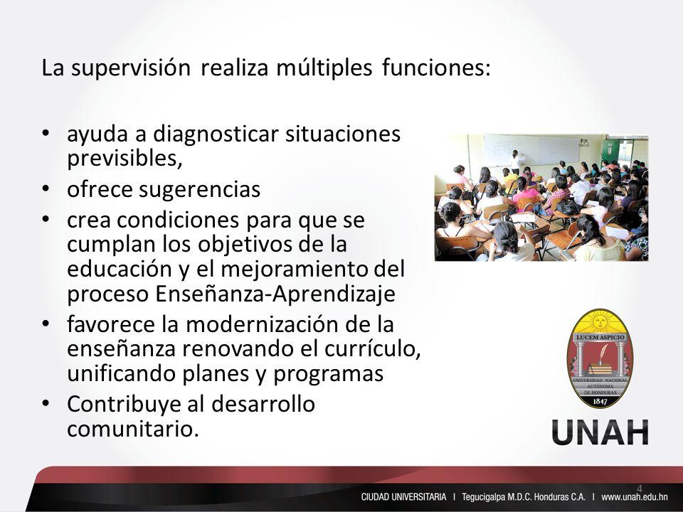 La supervisión realiza múltiples funciones: ayuda a diagnosticar situaciones previsibles, ofrece sugerencias crea condiciones para que se cumplan los