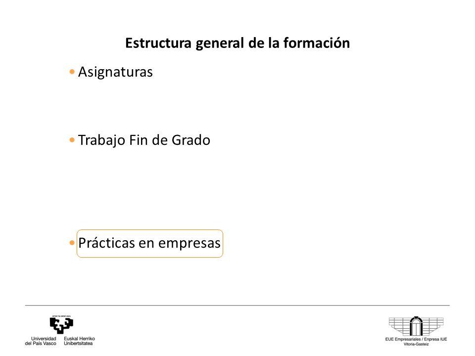 Estructura general de la formación Asignaturas Trabajo Fin de Grado Prácticas en empresas