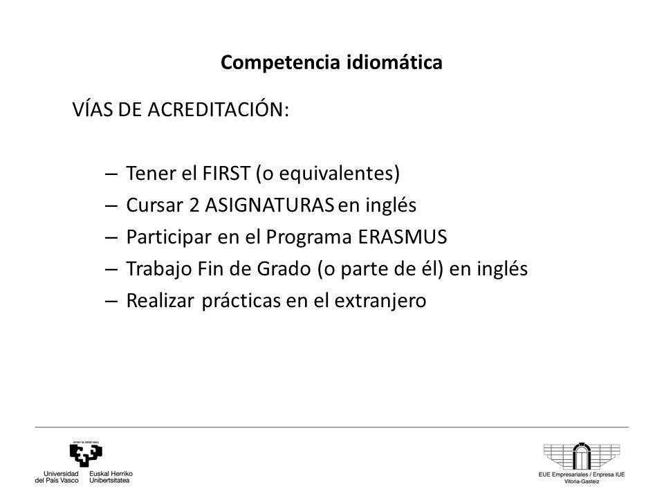 Competencia idiomática VÍAS DE ACREDITACIÓN: – Tener el FIRST (o equivalentes) – Cursar 2 ASIGNATURAS en inglés – Participar en el Programa ERASMUS – Trabajo Fin de Grado (o parte de él) en inglés – Realizar prácticas en el extranjero