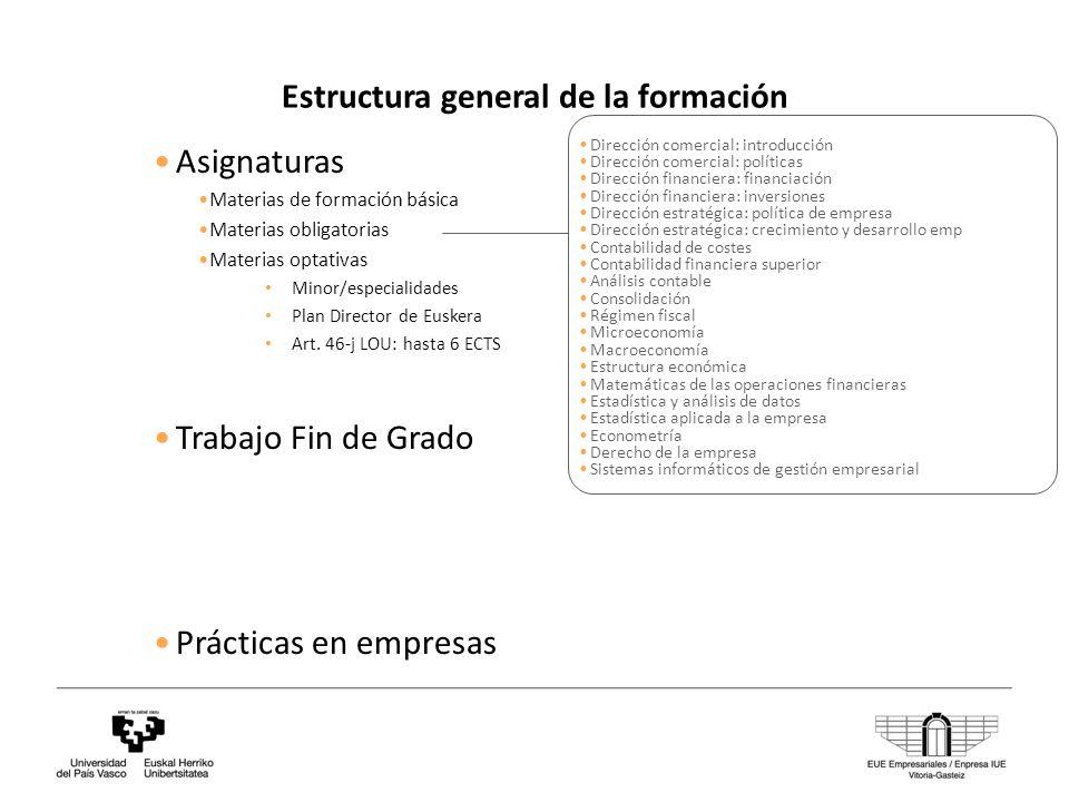 Estructura general de la formación Asignaturas Materias de formación básica Materias obligatorias Materias optativas Minor/especialidades Plan Director de Euskera Art.