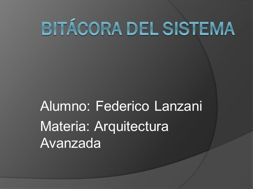 Alumno: Federico Lanzani Materia: Arquitectura Avanzada