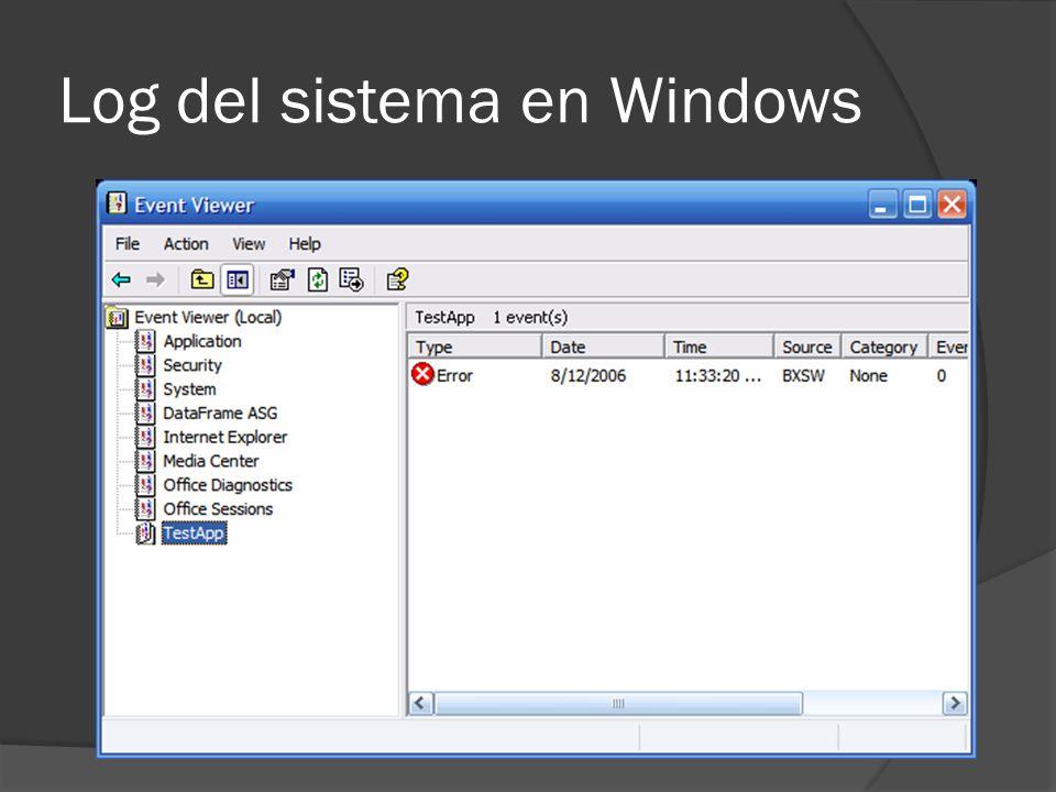 Log del sistema en Debian y Redhat El log mas importante es probablemente el que se encuentra en var/log/messages Registre una variedad de eventos entre los que se incluye mensajes de error, inicios del sistema y cierres del sistema.