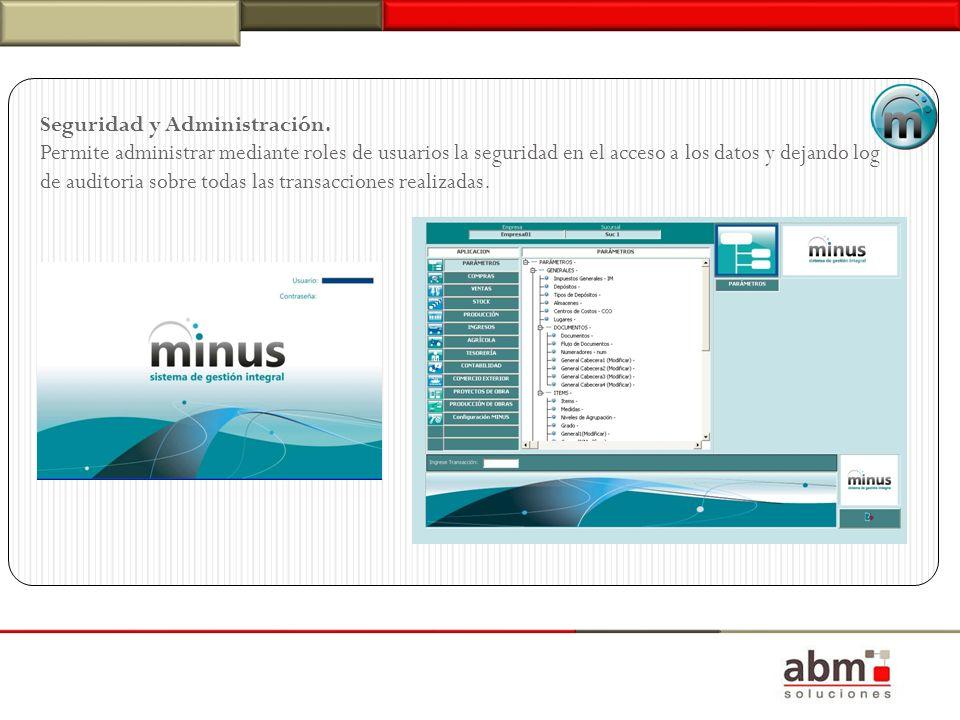 Seguridad y Administración. Permite administrar mediante roles de usuarios la seguridad en el acceso a los datos y dejando log de auditoria sobre toda