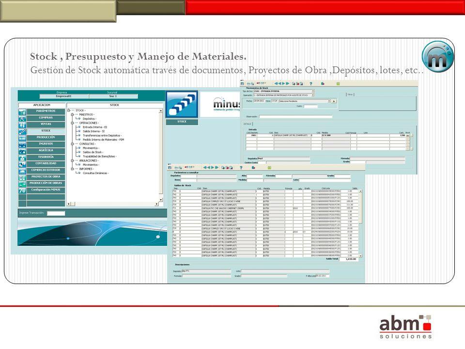 Stock, Presupuesto y Manejo de Materiales. Gestión de Stock automática través de documentos, Proyectos de Obra,Depósitos, lotes, etc..
