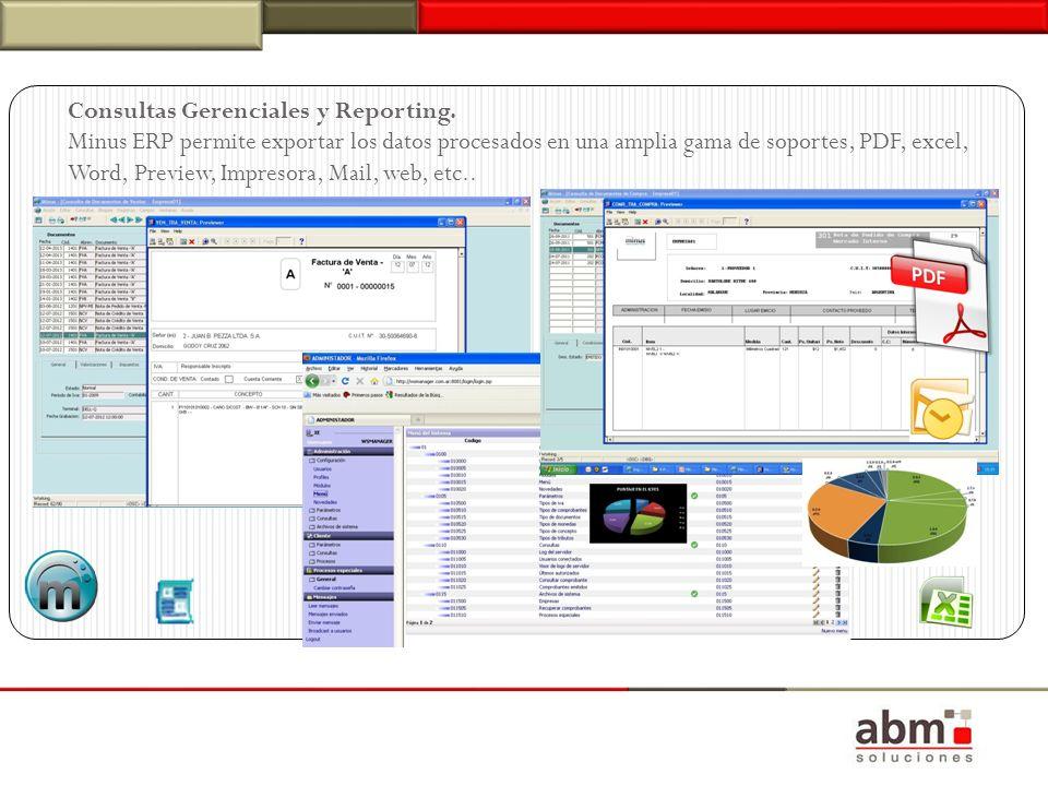 Consultas Gerenciales y Reporting. Minus ERP permite exportar los datos procesados en una amplia gama de soportes, PDF, excel, Word, Preview, Impresor