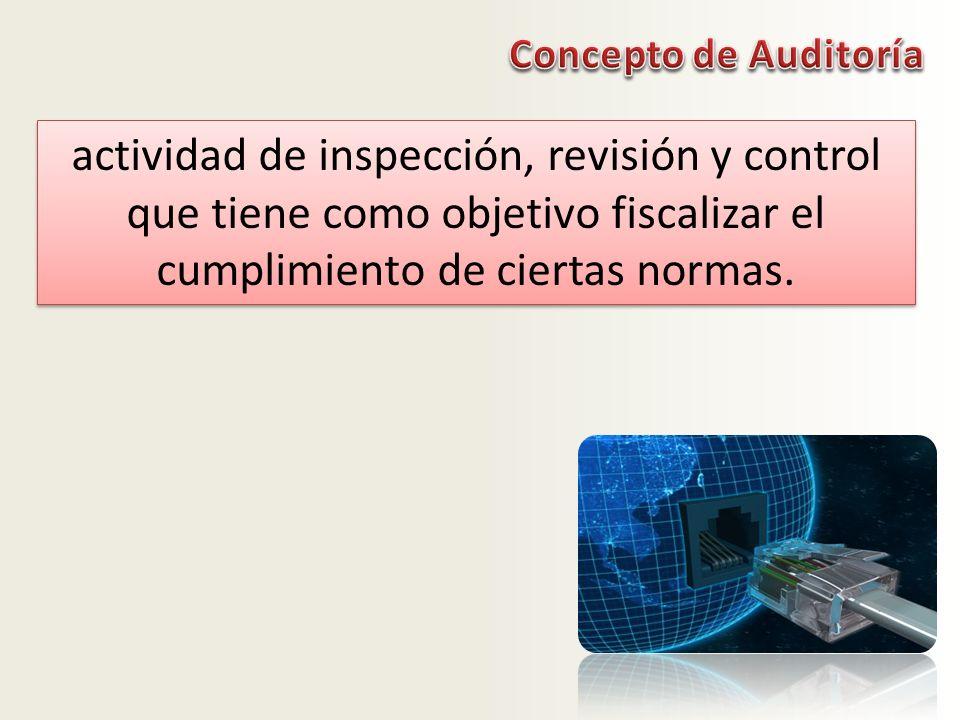 actividad de inspección, revisión y control que tiene como objetivo fiscalizar el cumplimiento de ciertas normas.