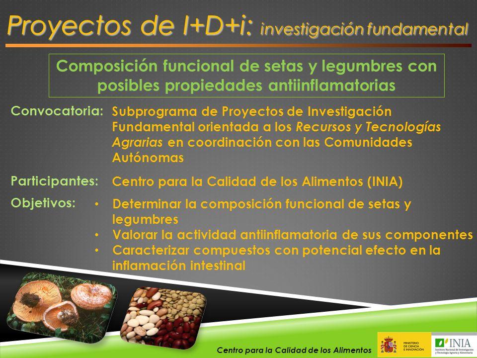 Composición funcional de setas y legumbres con posibles propiedades antiinflamatorias Proyectos de I+D+i: investigación fundamental Convocatoria: Subp