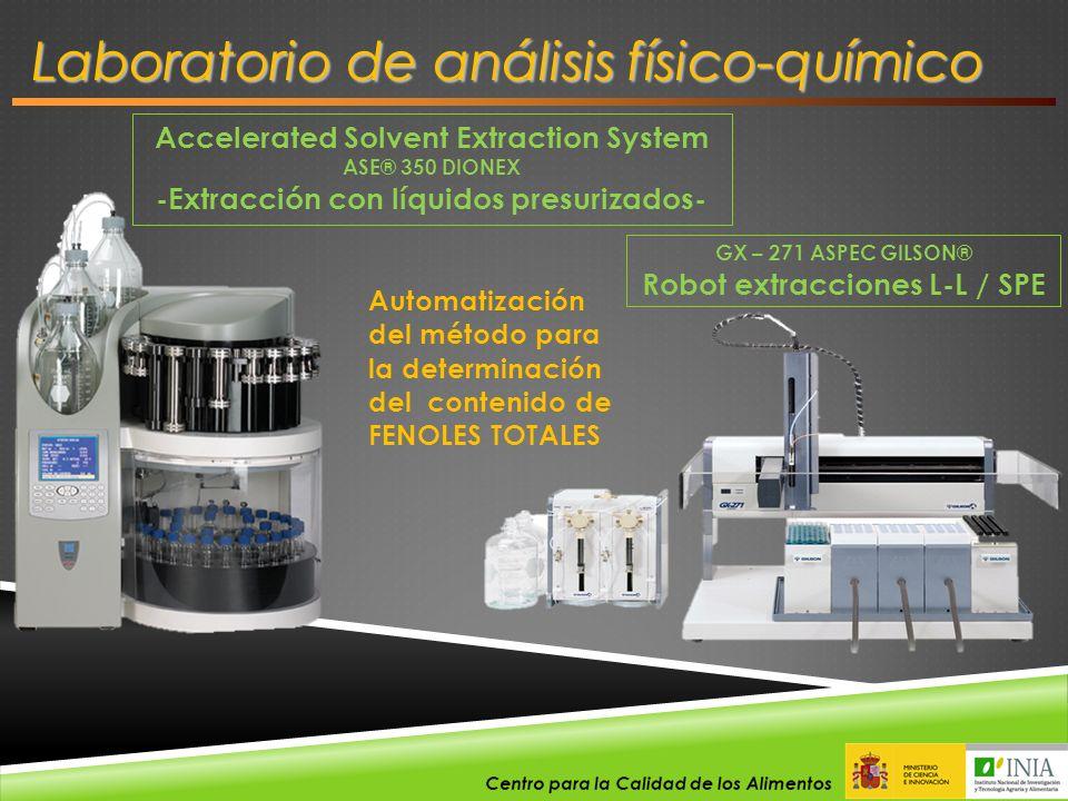 Accelerated Solvent Extraction System ASE® 350 DIONEX -Extracción con líquidos presurizados- Automatización del método para la determinación del conte