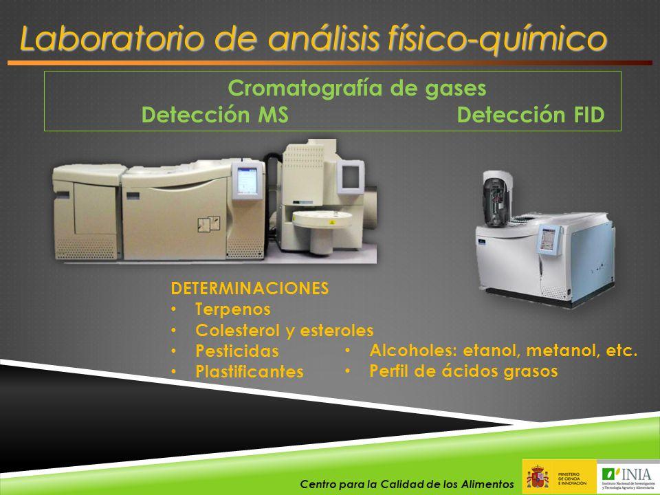 Cromatografía de gases Detección MS Detección FID DETERMINACIONES Terpenos Colesterol y esteroles Pesticidas Plastificantes Alcoholes: etanol, metanol