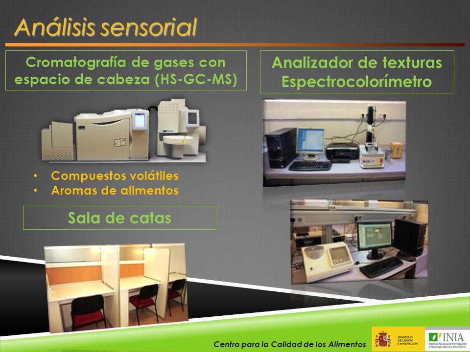 Cromatografía de gases con espacio de cabeza (HS-GC-MS) Análisis sensorial Compuestos volátiles Aromas de alimentos Analizador de texturas Espectrocol