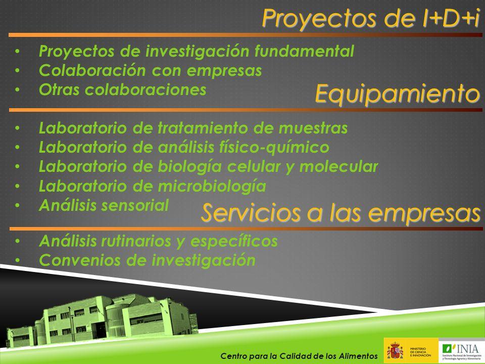 Proyectos de I+D+i Proyectos de investigación fundamental Colaboración con empresas Otras colaboraciones Laboratorio de tratamiento de muestras Labora