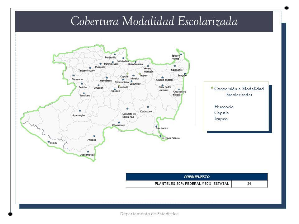 CUADRO COMPARATIVO DESERCIÓN Y REPROBACIÓN 2012 -2013 Índice DeserciónReprobación **Media Nacional 14.5%31.9% **Michoacán 11.0%34.8% Plantel 18.2%38.9% Cemsad50 Unión de Juárez (Agua Gorda) Departamento de Estadística EFICIENCIA TERMINAL ** Sistema Nacional de Información Educativa/Cifras estimadas en los indicadores de deserción y reprobación.