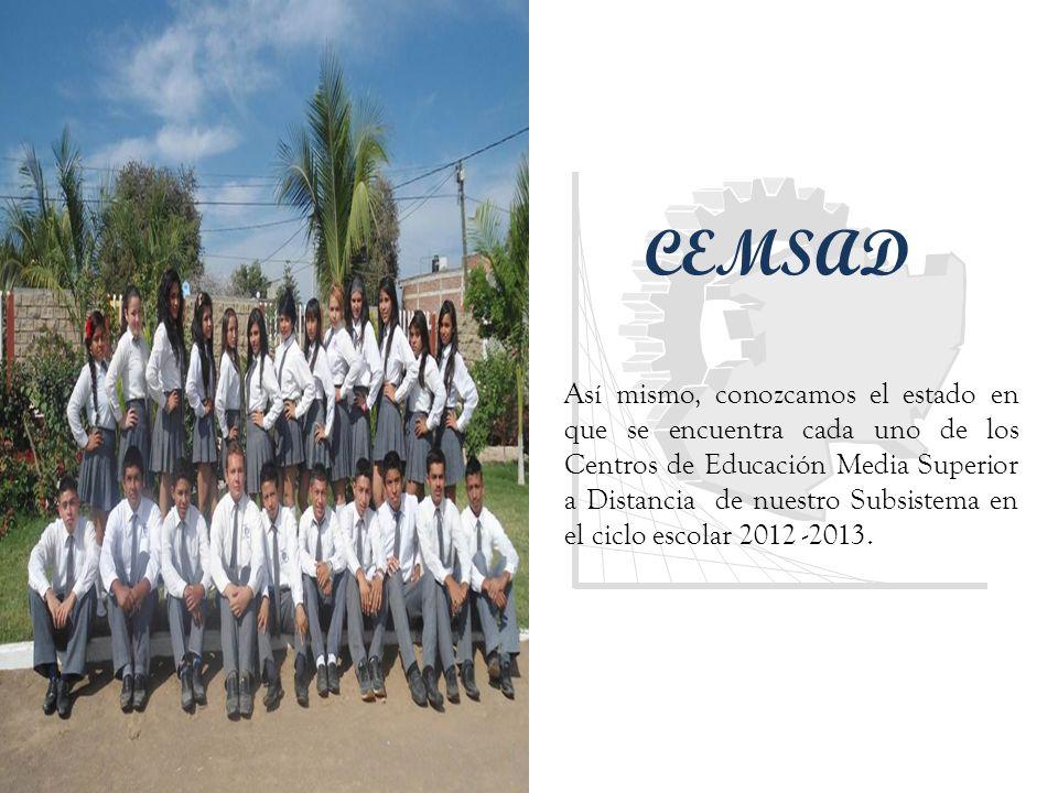 CEMSAD Así mismo, conozcamos el estado en que se encuentra cada uno de los Centros de Educación Media Superior a Distancia de nuestro Subsistema en el ciclo escolar 2012 -2013.