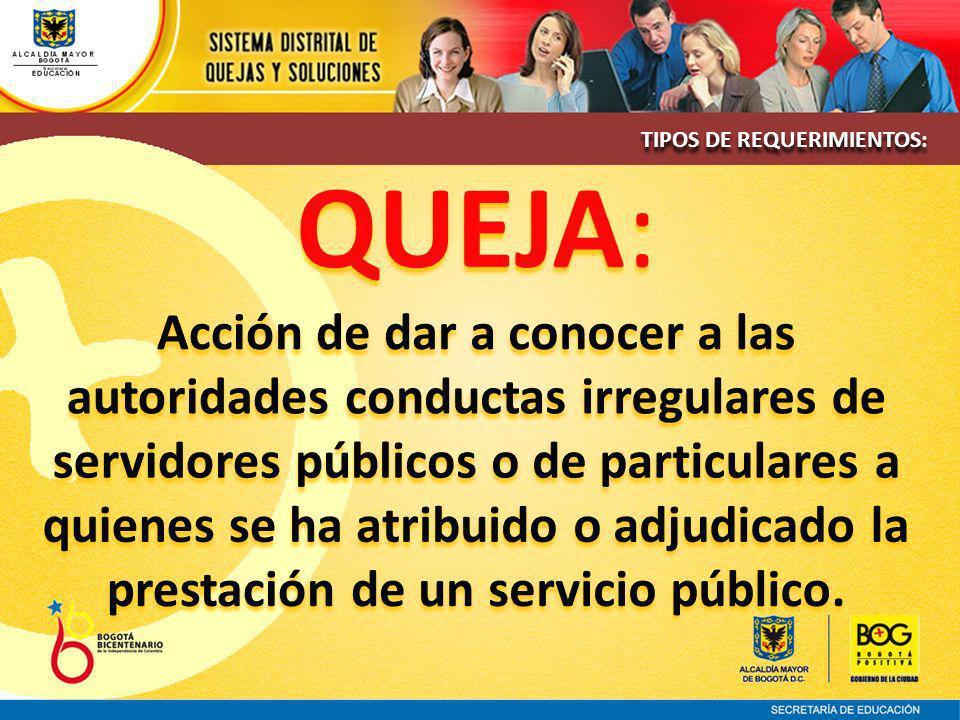 TIPOS DE REQUERIMIENTOS: