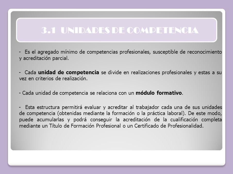 3.1 UNIDADES DE COMPETENCIA - Es el agregado mínimo de competencias profesionales, susceptible de reconocimiento y acreditación parcial. - Cada unidad