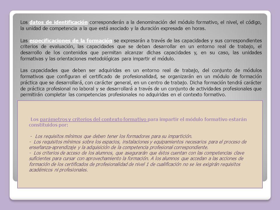 Los parámetros y criterios del contexto formativo para impartir el módulo formativo estarán constituidos por: - Los requisitos mínimos que deben tener