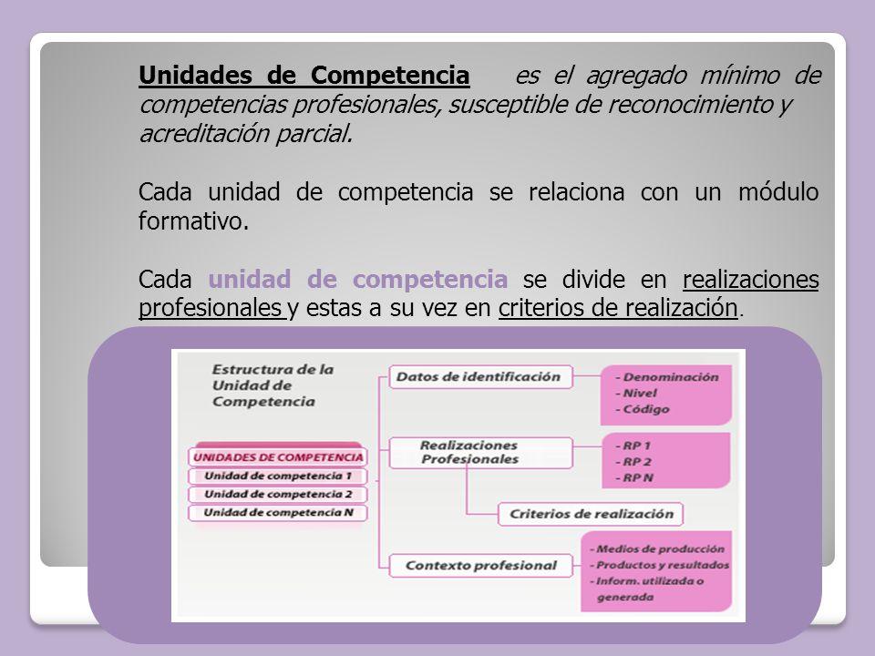 Unidades de Competencia es el agregado mínimo de competencias profesionales, susceptible de reconocimiento y acreditación parcial. Cada unidad de comp