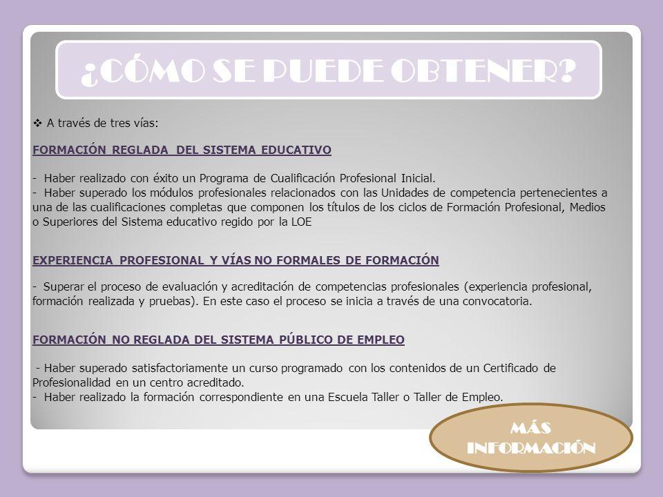 Se definirá por la cualificación profesional o en su caso, por las unidades de competencia del Catálogo Nacional de Cualificaciones Profesionales a las que dé respuesta el certificado de profesionalidad.