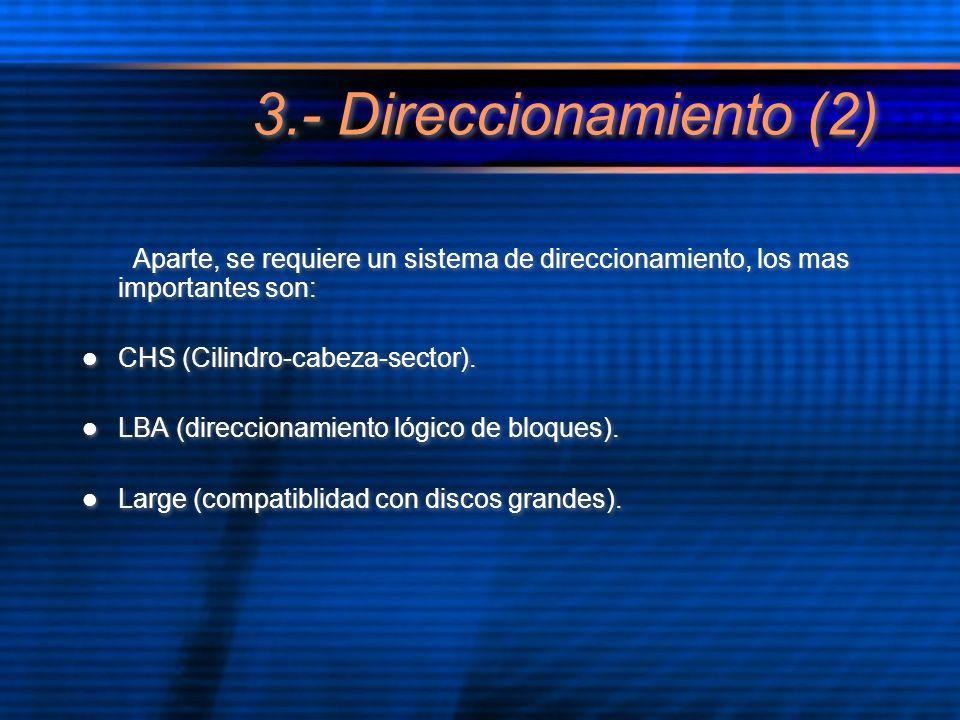3.- Direccionamiento (2) Aparte, se requiere un sistema de direccionamiento, los mas importantes son: CHS (Cilindro-cabeza-sector). LBA (direccionamie