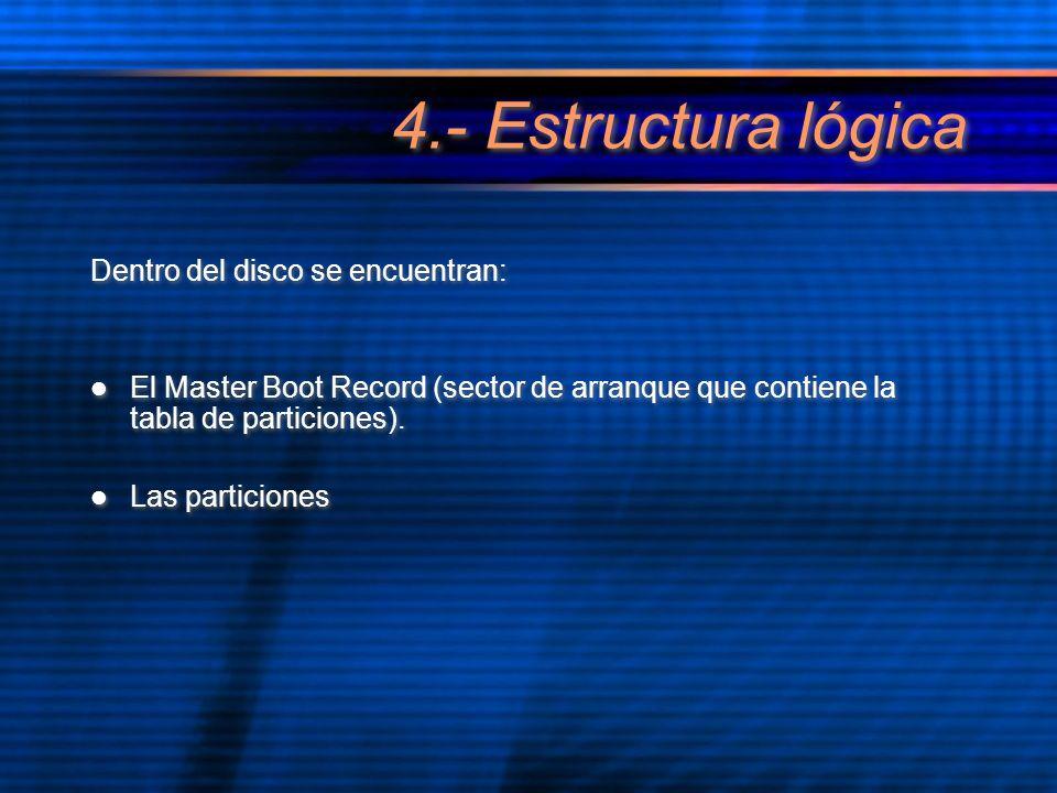 4.- Estructura lógica Dentro del disco se encuentran: El Master Boot Record (sector de arranque que contiene la tabla de particiones). Las particiones