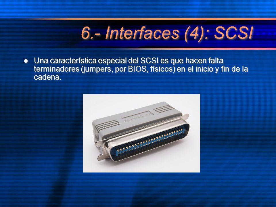 Una característica especial del SCSI es que hacen falta terminadores (jumpers, por BIOS, físicos) en el inicio y fin de la cadena.