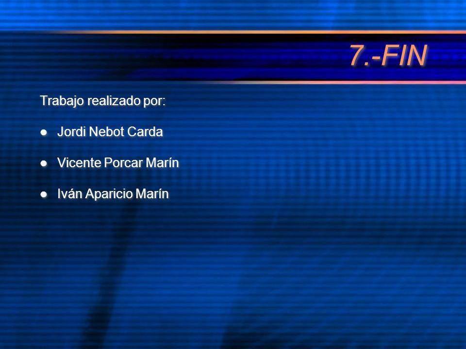 7.-FIN Trabajo realizado por: Jordi Nebot Carda Vicente Porcar Marín Iván Aparicio Marín Trabajo realizado por: Jordi Nebot Carda Vicente Porcar Marín Iván Aparicio Marín