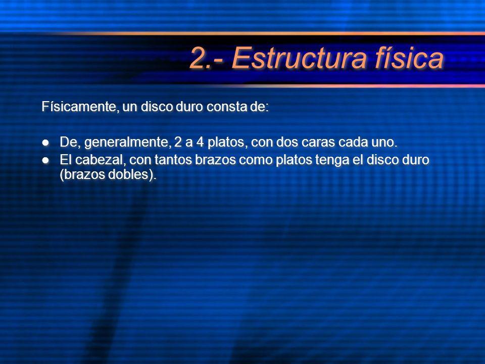 2.- Estructura física Físicamente, un disco duro consta de: De, generalmente, 2 a 4 platos, con dos caras cada uno. El cabezal, con tantos brazos como