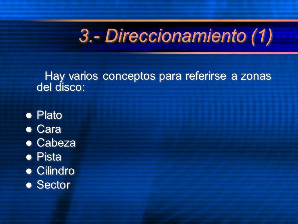 3.- Direccionamiento (1) Hay varios conceptos para referirse a zonas del disco: Plato Cara Cabeza Pista Cilindro Sector Hay varios conceptos para refe