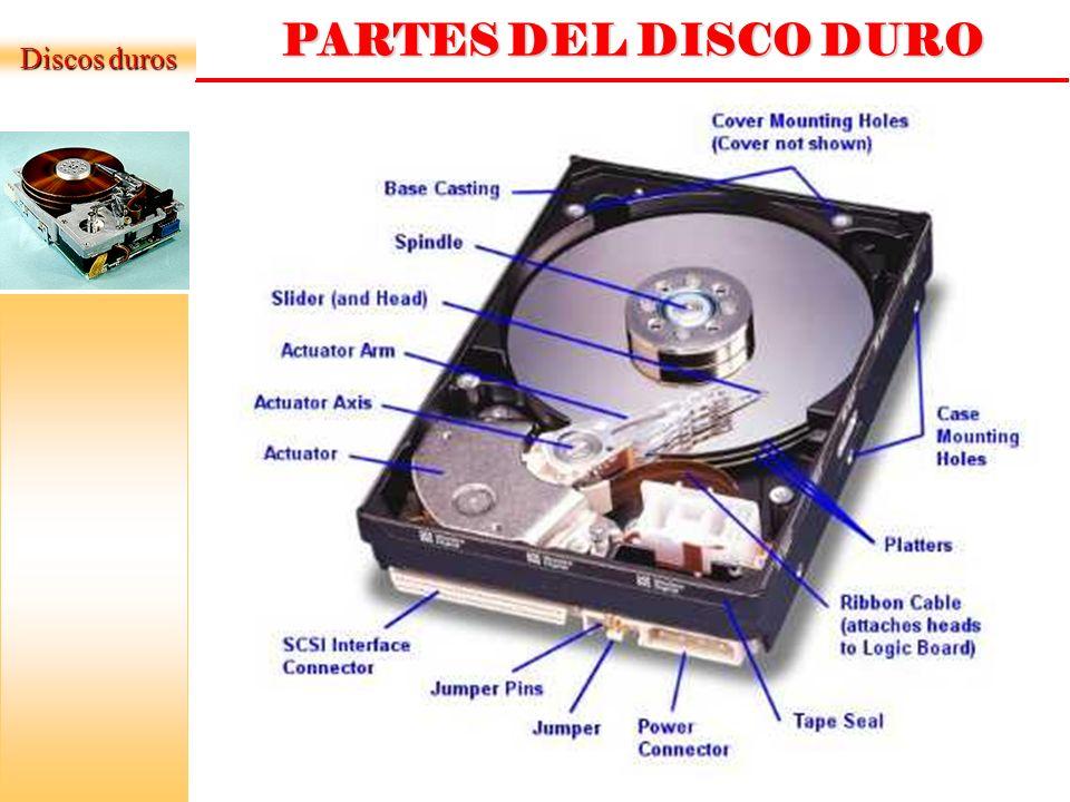 PARAMETROS DEL DISCO DURO Discos duros Tiempo medio de búsqueda: Tiempo medio que tarda la aguja en situarse en la pista deseada; es la mitad del tiempo empleado por la aguja en ir desde la pista más periférica hasta la más central del disco.